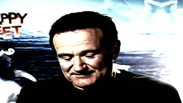 robin williams interview on 'happy feet' animated film england london actor robin williams - robin williams actor stock videos & royalty-free footage