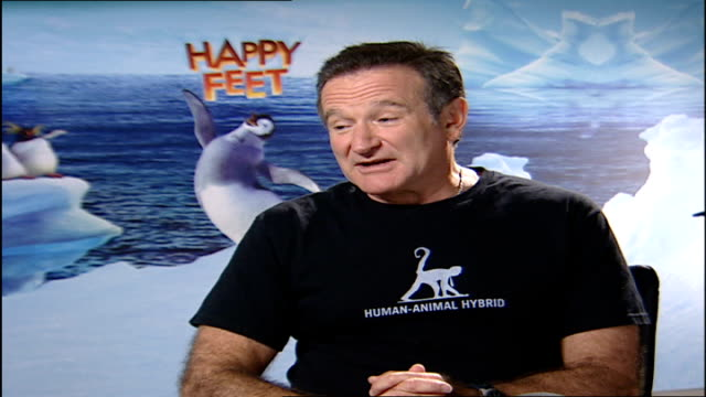 Robin Williams interview on 'Happy Feet' animated film Robin Williams interview SOT I've only done this one time just for you sir if you believe that...