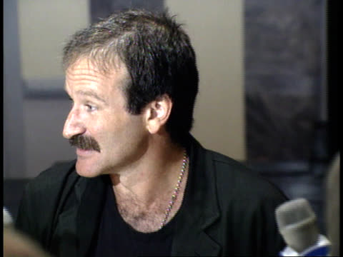 robin williams jokes with reporters about the roast - friars roast 1993 stock videos and b-roll footage