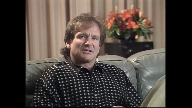 robin williams speaking about giving up drugs and alcohol in 1996 during interview with host ewart barnsley - actor stock videos & royalty-free footage