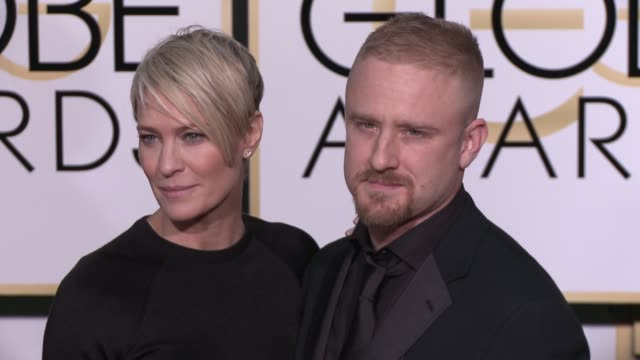 robin wright and ben foster at the 72nd annual golden globe awards arrivals at the beverly hilton hotel on january 11 2015 in beverly hills california - robin wright stock videos and b-roll footage