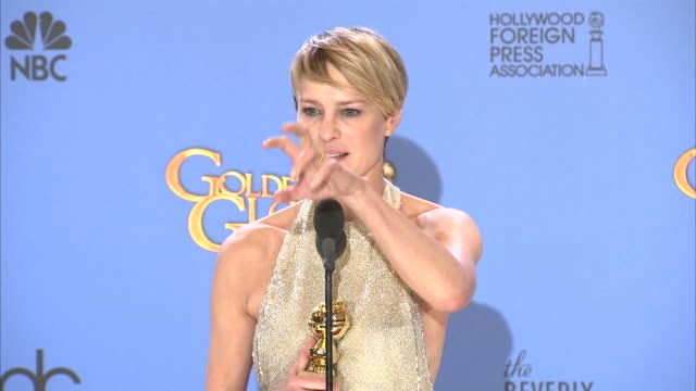 interview robin wright at the 71st annual golden globe awards press room at the beverly hilton hotel on in beverly hills california - robin wright stock videos & royalty-free footage