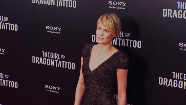 robin wright at 'the girl with the dragon tattoo' new york premiere new york ny united states - robin wright stock videos and b-roll footage
