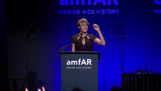 speech robin wright introduce peter lindbergh amfar new york gala 2014 at cipriani wall street on february 5th 2014 in new york city - robin wright stock videos and b-roll footage
