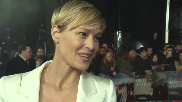 interview robin wright on her character directing 'house of cards' directing films character is like cruella de vil at house of cards uk premiere at... - anweisungen geben stock-videos und b-roll-filmmaterial