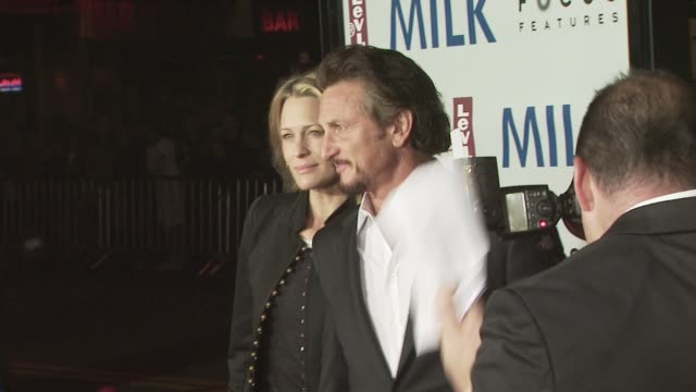 robin wright penn and sean penn at the milk premiere at san francisco ca - robin wright stock videos and b-roll footage