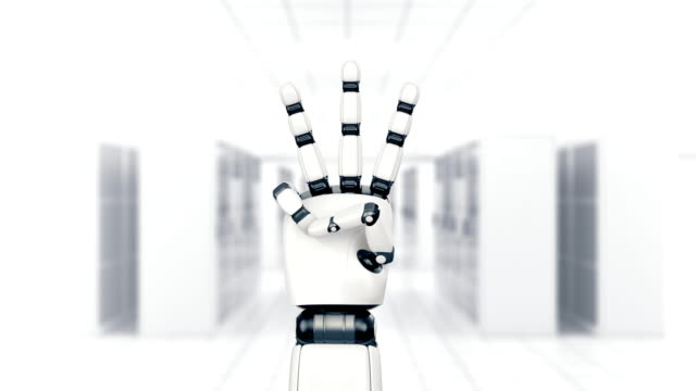 robot hand - finger counting. alpha included. - number 5 stock videos & royalty-free footage