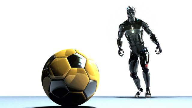 cgi ws cu robot kicking soccer ball - robot stock videos & royalty-free footage