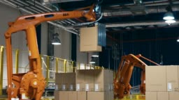 A robot lifting Packing with products