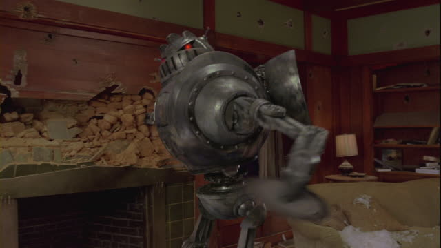 a robot ransacking a craftsmans house. - destruction stock videos & royalty-free footage