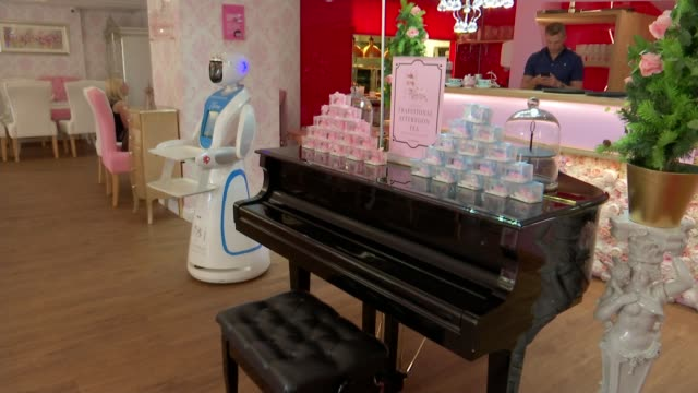 robot 'theresa' serving tea and cakes at cobham cafe england surrey cobham the tea terrace int tea being poured into cup vox pops robot 'theresa'... - serving tray stock videos and b-roll footage