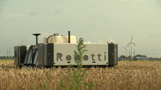 robot working the field on a netherlands research farm everything is planted in rows limiting pests and the need to spray includes view of what the... - field stock videos & royalty-free footage