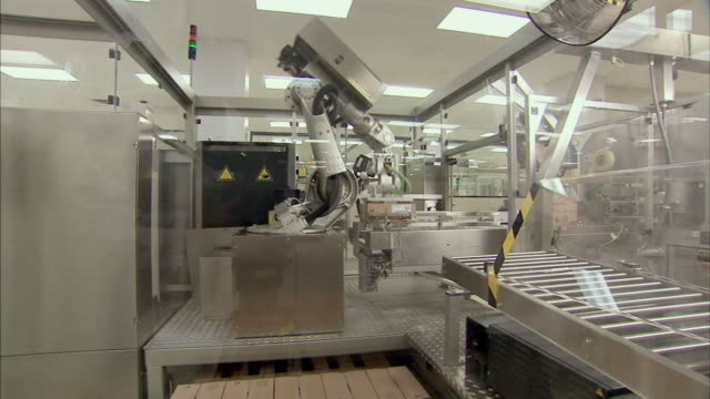 ws td robotic arm stacking boxes for packaging, boxmeer, netherlands - boxmeer video stock e b–roll