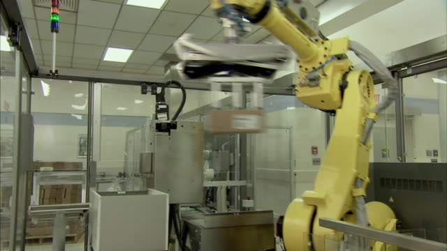 ms td tu robotic arm stacking boxes for packaging, boxmeer, netherlands - boxmeer video stock e b–roll