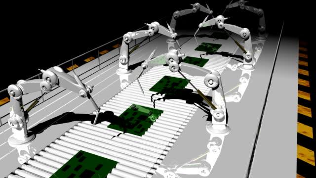 vídeos de stock, filmes e b-roll de braços robóticos industriais circulares - placa mãe