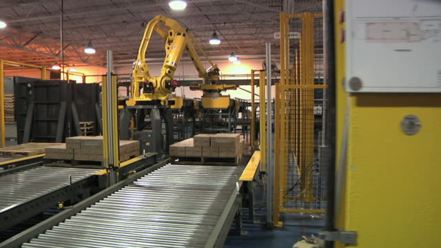 ws pan robotic arms stacking cartons on pallets in factory, chelsea, michigan, usa - conveyor belt stock videos & royalty-free footage
