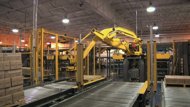 MS PAN Robotic arms stacking cartons on pallets in factory, Chelsea, Michigan, USA
