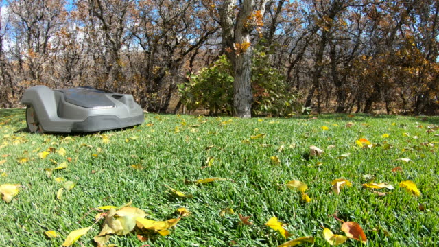 robotic lawn mower adjusting position as it stays in its boundary - grass stock videos & royalty-free footage