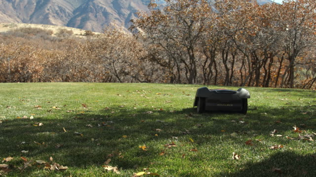 robotic lawn mower automatically propelling itself trimming the grass - grass stock videos & royalty-free footage