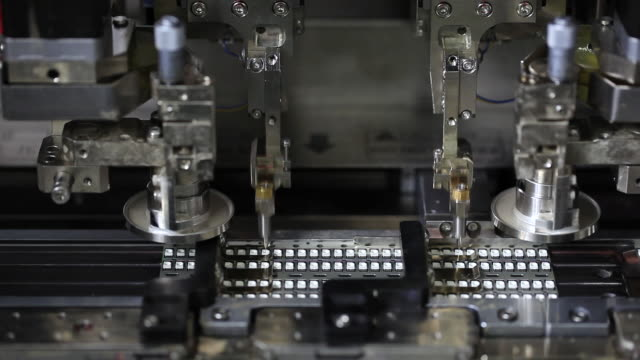 ms robotic machine assembling computer chips/semi-conductors / seoul, south korea - computer chip stock videos & royalty-free footage
