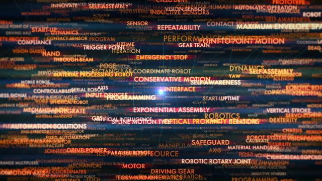 vídeos de stock, filmes e b-roll de terminologia de robótica - inteligência