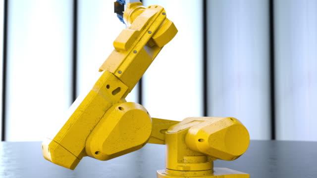 vídeos y material grabado en eventos de stock de robot's arm holding processor - pieza de máquina