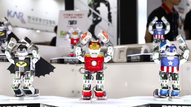 robots developed by robotis inc dance during a demonstration at the robotworld 2017 industry show in goyang south korea on wednesday sept 13 2017 - goyang stock videos and b-roll footage