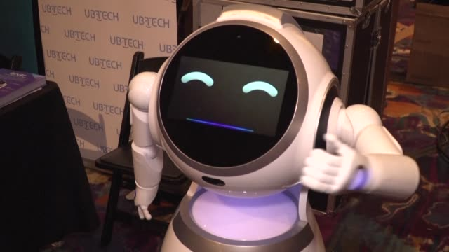 robots light up the 2020 consumer electronics show pre show one day before tuesday's official opening of the world's biggest consumer tech expo - big tech stock videos & royalty-free footage