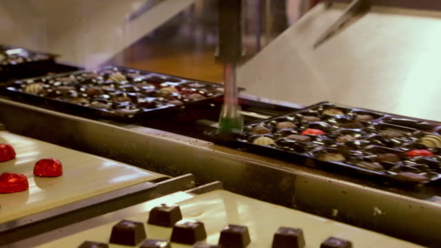 robots packing different shaped chocolates into trays for chocolate boxes - production line stock videos & royalty-free footage