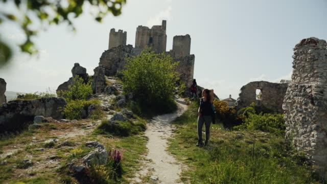rocca calascio fortress ruins in italy - circa 11th century stock videos & royalty-free footage