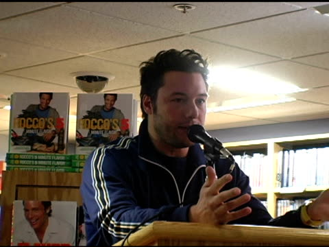 Rocco DiSpirito discusses his new book 'Roccos 5 Minute Flavor' at the Book Signing of 'Roccos 5 Minute Flavor' By Rocco DiSpirito at Borders Wall St...