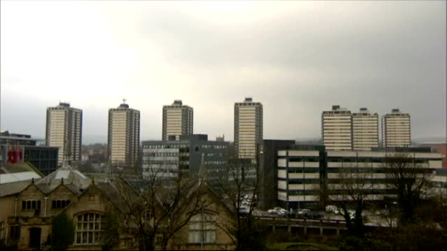 no police officers to face disciplinary action england greater manchester rochdale ext tower blocks seen from above rooftops and tower blocks tower... - rochdale england stock videos & royalty-free footage