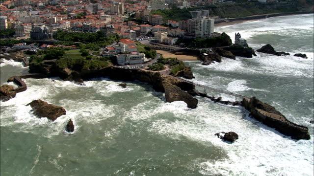 rocher de la vierge  - aerial view - aquitaine, pyrénées-atlantiques, france - aquitaine stock videos and b-roll footage