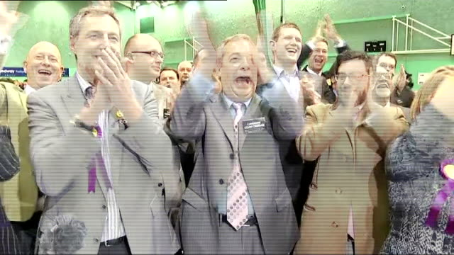 ukip victory england kent rochester photography** nigel farage mep and ukip supporters applauding ukip victory as rochester byelection result... - 2014 stock videos and b-roll footage