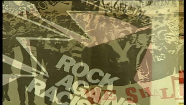'rock against racism' concert red saunders speaking close ups rock against racism memorabilia red saunders interview sot close ups rock against... - モダンロック点の映像素材/bロール
