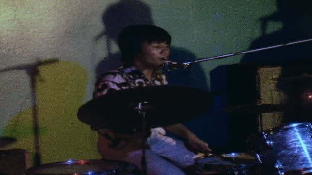 rock and roll drummer playing in club performance / da nang, vietnam - drummer stock videos & royalty-free footage