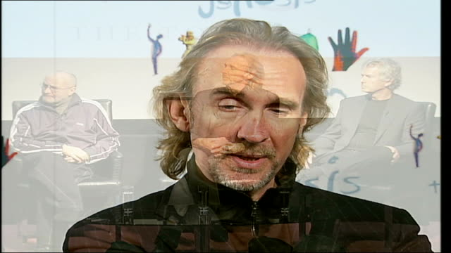 london int phil collins mike rutherford and tony banks sat at press conference mike rutherford interview sot nice to play to people who missed on us... - mike rutherford stock videos & royalty-free footage