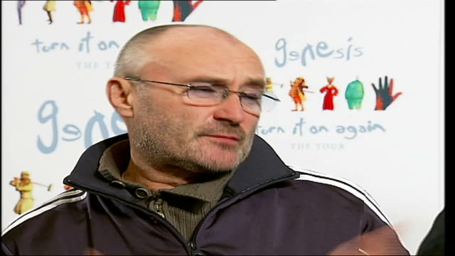 rock band genesis reunite phil collins interview sot music can be staged in many different ways / talks about visual aspect of playing in stadiums - phil collins stock videos & royalty-free footage