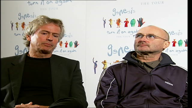 rock band genesis reunite; tony banks as next to collins, interview sot - played all around london during the early days - all around competition stock videos & royalty-free footage