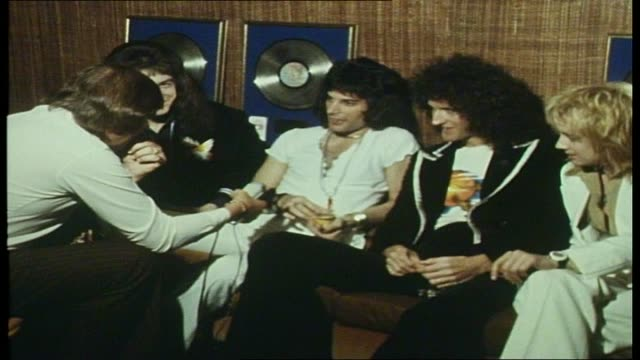 rock band queen sound unlimited interview continued re: their popularity in japan, their future direction and their tour. - 1976 stock videos & royalty-free footage