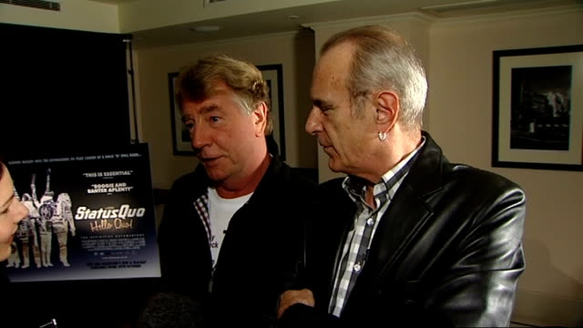 vidéos et rushes de rock band status quo launch documentary film 'hello quo' parfitt and rossi interview sot on longevity of band hard to believe / don't have a... - rock moderne