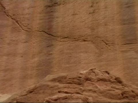 rock carving of the godess hathor, timna park, israel - parete rocciosa video stock e b–roll