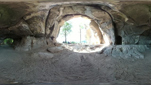 rock cave with sandstone rocks, tourist destination, vr 360, 360 vr, equirectangular panoramic, monoskopic - sandstone stock videos & royalty-free footage