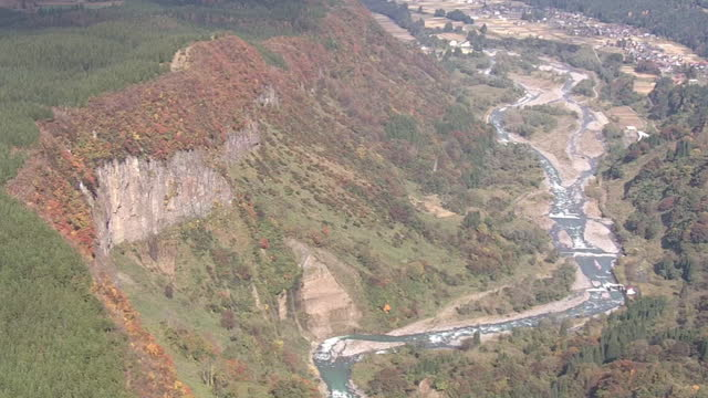 "aerial, rock cliff called ""ishi-otoshi"", niigata, japan - erodiert stock-videos und b-roll-filmmaterial"