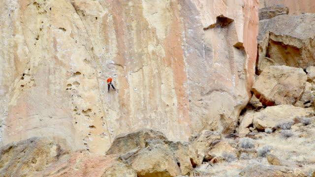 hd rock alpinista in oregon, stati uniti - arrampicata libera video stock e b–roll