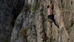 rock climber in Turzi Gorge, Transylvania, Romania