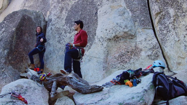 rock climbers chatting and preparing to climb - angeles national forest stock videos and b-roll footage