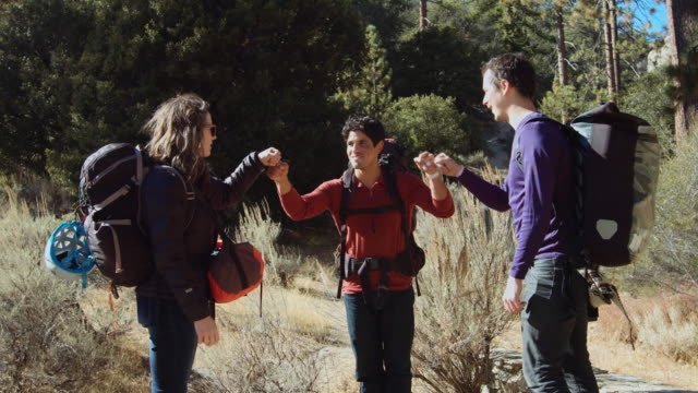 rock climbers hiking on trail - angeles national forest stock videos and b-roll footage
