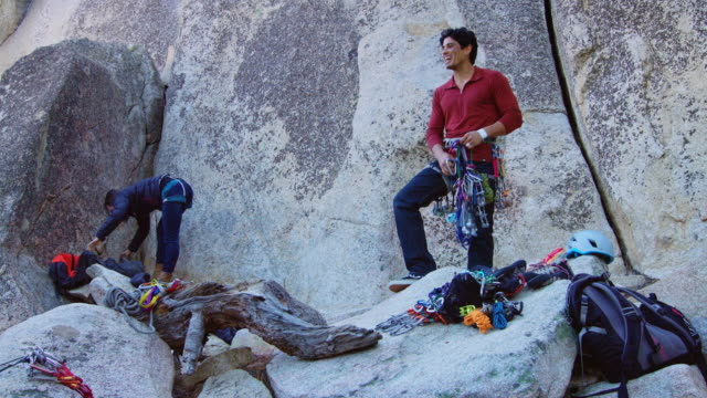 rock climbers preparing equipment - angeles national forest stock videos and b-roll footage