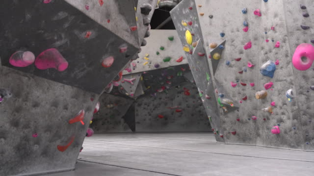 ws rock climbing gym interior - climbing wall stock videos & royalty-free footage